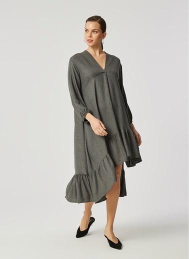 Monamoda Monamoda Flanel Dokulu Eteği Volanlı Kadın Elbise Antrasit